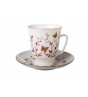 Чашка с блюдцем форма Майская рисунок Розовые веточки