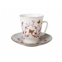 Чашка с блюдцем чайная форма Майская рисунок Розовые веточки