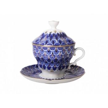 Чашка с блюдцем и крышкой форма Подарочная-2 рисунок Чешуйка
