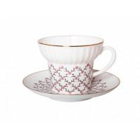 Чашка с блюдцем чайная форма Волна рисунок Розовая сетка