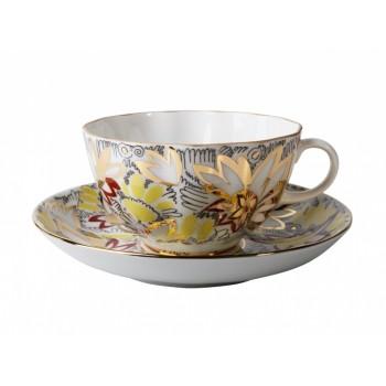Чашка с блюдцем форма Тюльпан рисунок Золотые ромашки