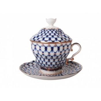 Чашка с блюдцем и крышкой чайная форма Подарочная-2 рисунок Кобальтовая сетка