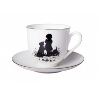 Чашка с блюдцем форма Ландыш рисунок Силуэты. Друзья