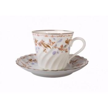 Чашка с блюдцем кофейная форма Витая рисунок Карелия