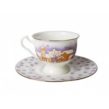 Чашка с блюдцем чайная форма Айседора рисунок Снегопад