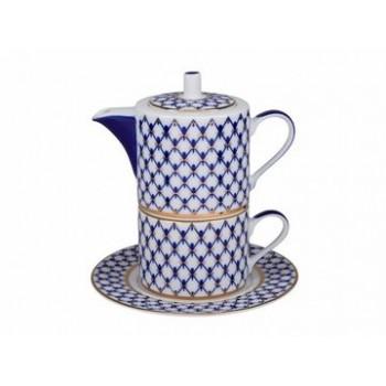 Набор для чая форма Соло рисунок Кобальтовая  сетка (в подарочной упаковке)