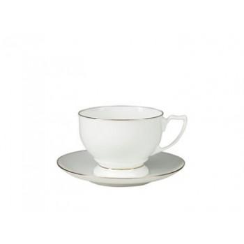 Чашка с блюдцем чайная форма Жемчужина рисунок Золотая лента