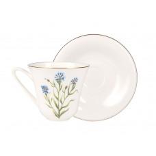Чашка с блюдцем чайная форма Сад рисунок Василек