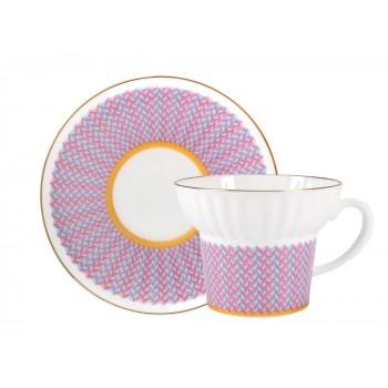 Чашка с блюдцем чайная форма Волна рисунок Геометрия 4