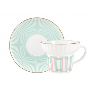Чашка с блюдцем форма Волна рисунок Геометрия 4