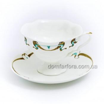 Чашка с блюдцем чайная форма Наташа рисунок Миндаль