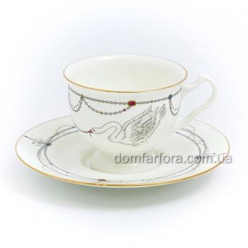 Чашка с блюдцем форма Айседора рисунок  Волшебное Лебединое озеро