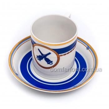 Чашка с блюдцем форма Гербовая рисунок Кают-компания №6