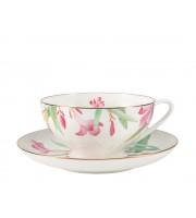 Чашка с блюдцем форма Купольная рисунок Акварель