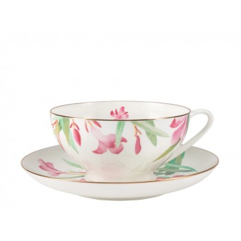 Чашка с блюдцем чайная форма Купольная рисунок Акварель
