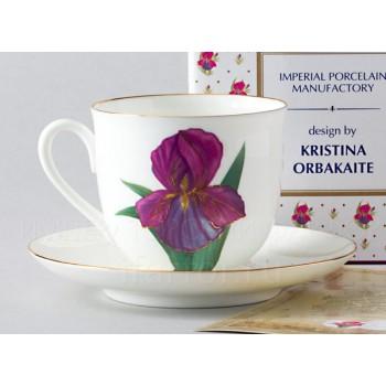Чашка с блюдцем форма Ландыш рисунок Цветок Ириса, Автор идеи Кристина Орбакайте