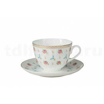 Чашка с блюдцем чайная форма Весенняя 2 рисунок Цветочный вальс
