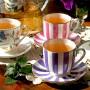 Чашка с блюдцем форма Ландыш рисунок Гвоздика и нарцисс