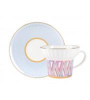 Чашка с блюдцем чайная форма Волна рисунок Геометрия 1