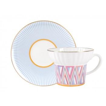 Чашка с блюдцем форма Волна рисунок Геометрия 1