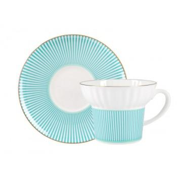 Чашка с блюдцем чайная форма Волна рисунок Геометрия 3