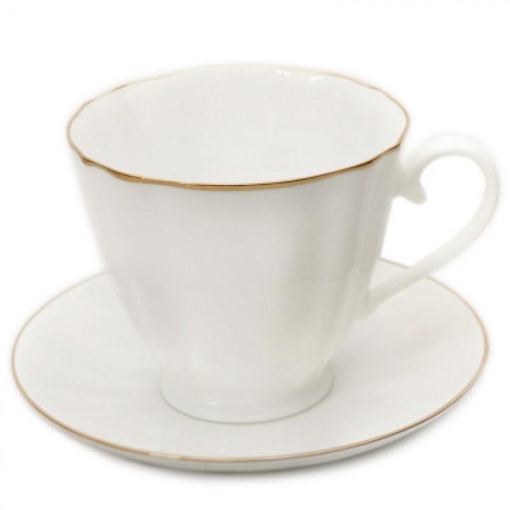Чашка с блюдцем форма Гвоздика рисунок Золотой кантик
