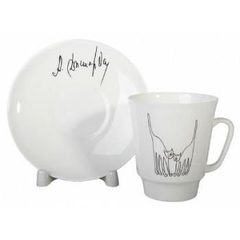 Чашка с блюдцем форма Майская рисунок Коты. Автор идеи Армен Джигарханян.