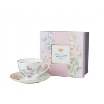 Чашка с блюдцем чайная форма Весенняя 2 рисунок Нежный пион (серый)