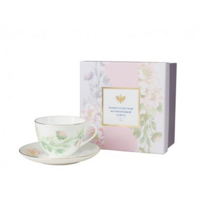 Чашка с блюдцем чайная форма Весенняя -2 рисунок Нежный пион (зеленый)