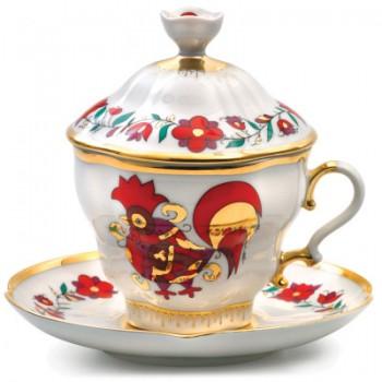 Чашка с блюдцем и крышкой форма Подарочная-2 рисунок Сувенир