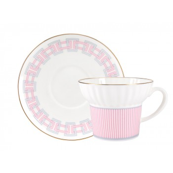 Чашка с блюдцем форма Волна рисунок Геометрия 5