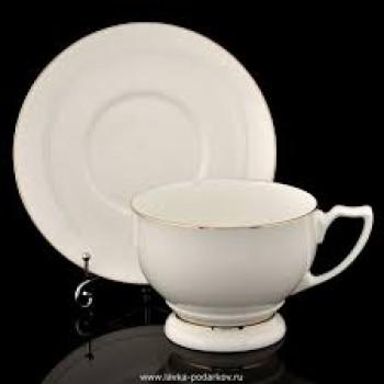 Чашка с блюдцем чайная Жемчужина Золотая лента
