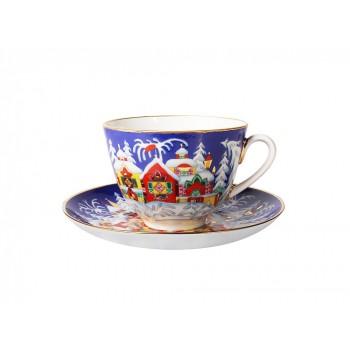 Чашка с блюдцем форма Весенняя рисунок Зимняя сказка