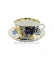 Чашка с блюдцем форма Тюльпан рисунок Золотой сад