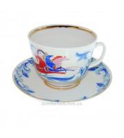 Чашка с блюдцем форма Подарочная рисунок Зима