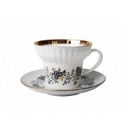 Чашка с блюдцем форма Волна рисунок Тонкие веточки