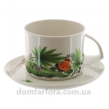 Чашка с блюдцем форма Баланс рисунок Джангл