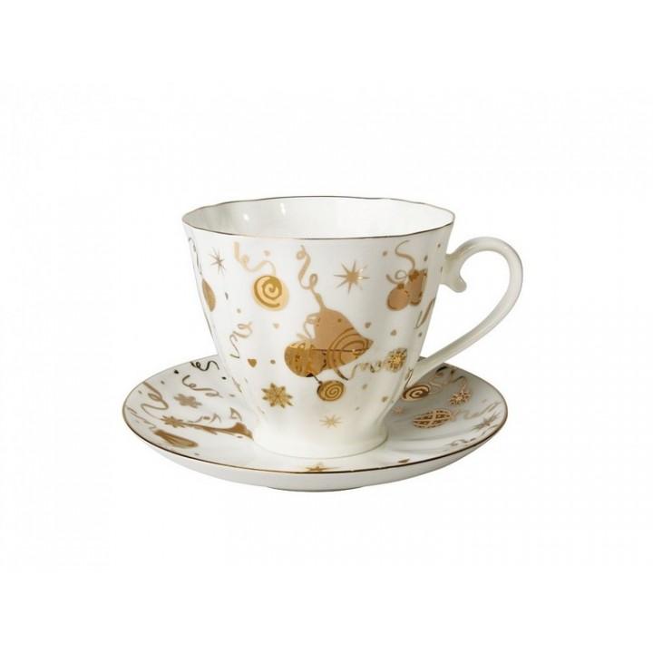 Чашка с блюдцем форма Гвоздика рисунок Веселый праздник