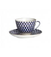 Чашка с блюдцем форма Весенняя рисунок Кобальтовая сетка