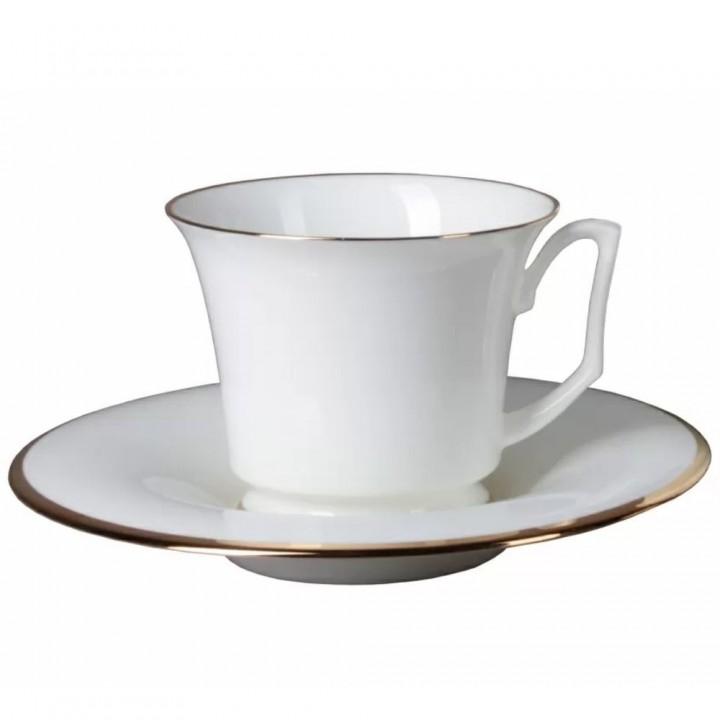 Чашка с блюдцем чайная форма Юлия рисунок Золотая лента