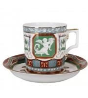 Чашка с блюдцем форма Гербовая рисунок Античный