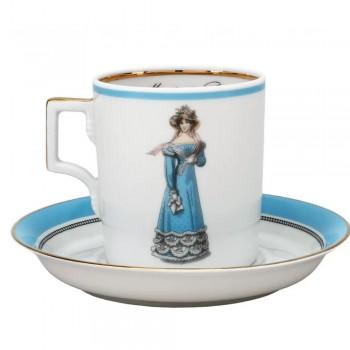 Чашка с блюдцем чайная форма Гербовая рисунок Modes de Paris 1823