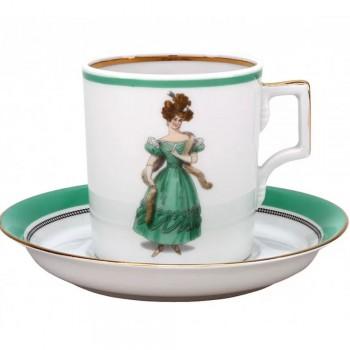 Чашка с блюдцем чайная форма Гербовая рисунок Modes de Paris 1830