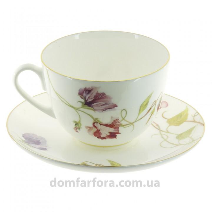 Чашка с блюдцем форма Весенняя рисунок Цветущий горошек