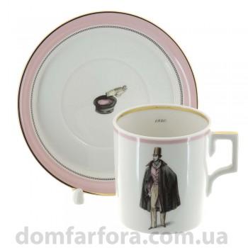 Чашка с блюдцем чайная форма Гербовая рисунок Modes de Paris розовый Денди