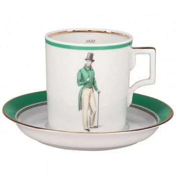 Чашка с блюдцем чайная форма Гербовая рисунок Modes de Paris зеленый Денди