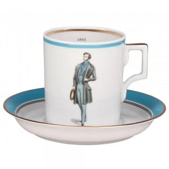 Чашка с блюдцем чайная форма Гербовая рисунок Modes de Paris голубой Денди