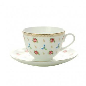 Чашка с блюдцем форма Весенняя 2 рисунок Цветочный вальс