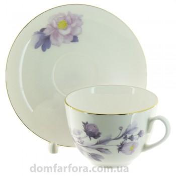 Чашка с блюдцем чайная форма Весенняя-2 рисунок Нежный пион (сиреневый)