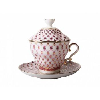 Чашка с блюдцем и крышкой форма Подарочная-2 рисунок Сетка-блюз